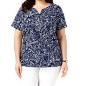 Karen Scott Plus Casual Short Sleeves Henley Top